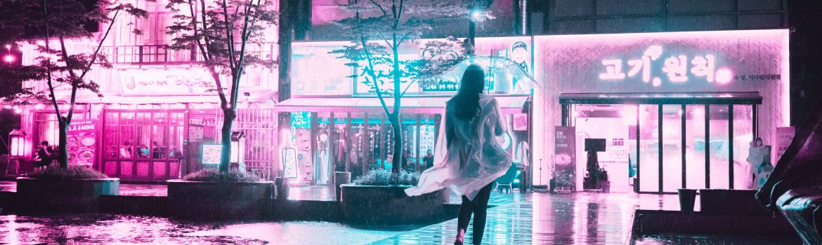 Neon lights and cyberpunk picture and a girl walking down the street.
