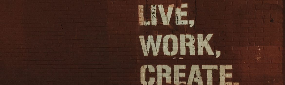 "Three inspiring words written on the red wall ""LIVE"", ""WORK"", ""CREATE"" by this words we want to inspire our students."
