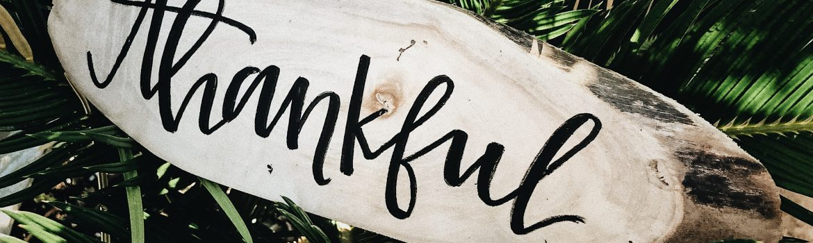 "A word ""thankful"" written in caligraphy on wood with green fern leaves behind."