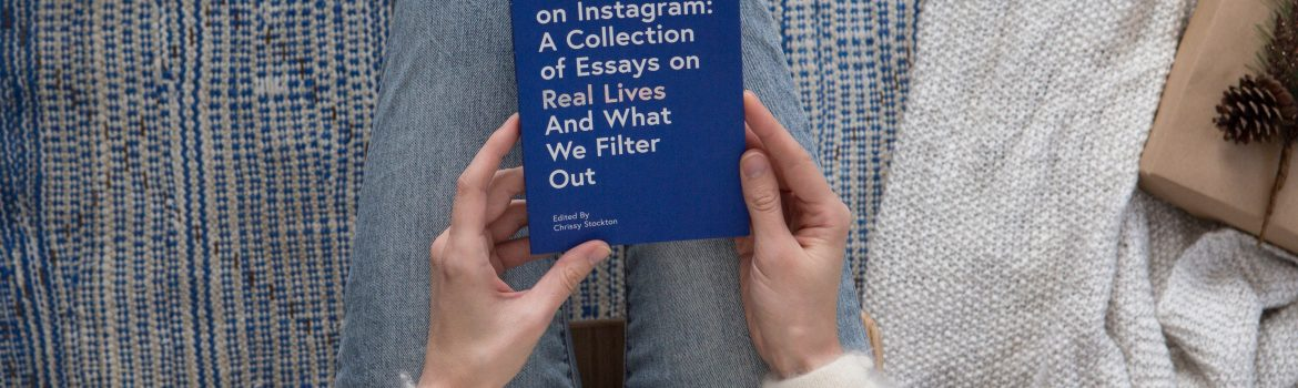 Text book with blue cover about essays